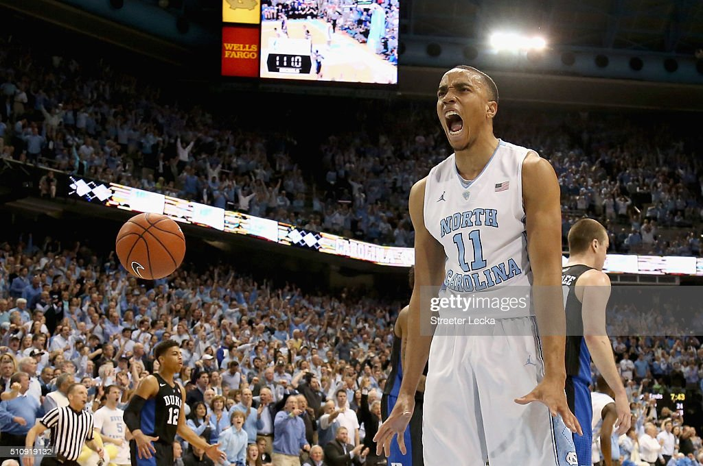 Brice Johnson of the North Carolina Tar Heels reacts after a basket during their game against the Duke Blue Devils at Dean Smith Center on February...