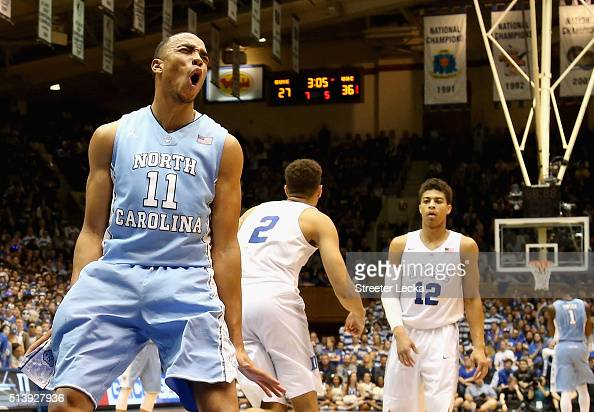 Brice Johnson of the North Carolina Tar Heels reacts after a basket against the Duke Blue Devils during their game at Cameron Indoor Stadium on March...