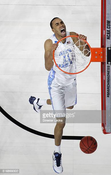 Brice Johnson of the North Carolina Tar Heels reacts after a basket against the Providence Friars during the second round of the NCAA Men's...