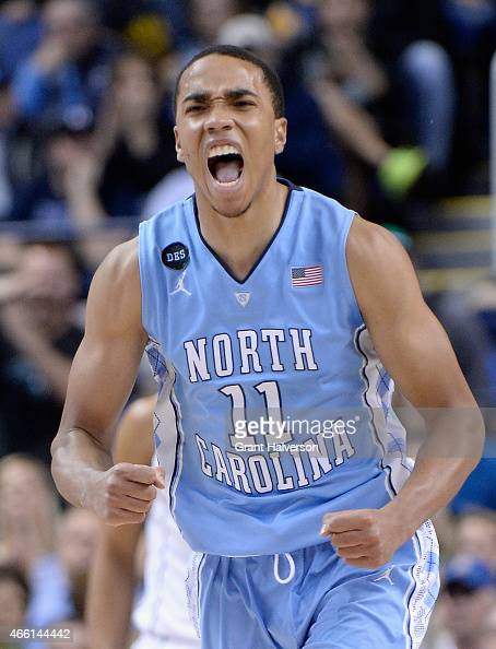 Brice Johnson of the North Carolina Tar Heels reacts after a play against the Virginia Cavaliers during the semifinals of the 2015 ACC Basketball...