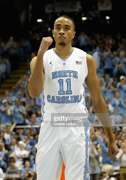 Brice Johnson of the North Carolina Tar Heels reacts after a play during their game against the Miami Hurricanes at Dean Smith Center on February 20...