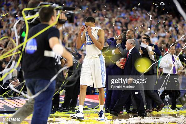 Brice Johnson of the North Carolina Tar Heels reacts after being defeated by the Villanova Wildcats 7774 in the 2016 NCAA Men's Final Four National...