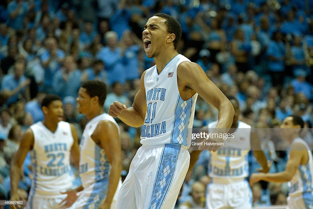 Brice Johnson of the North Carolina Tar Heels reacts after dunking against the UAB Blazers during their game at the Dean Smith Center on December 27...