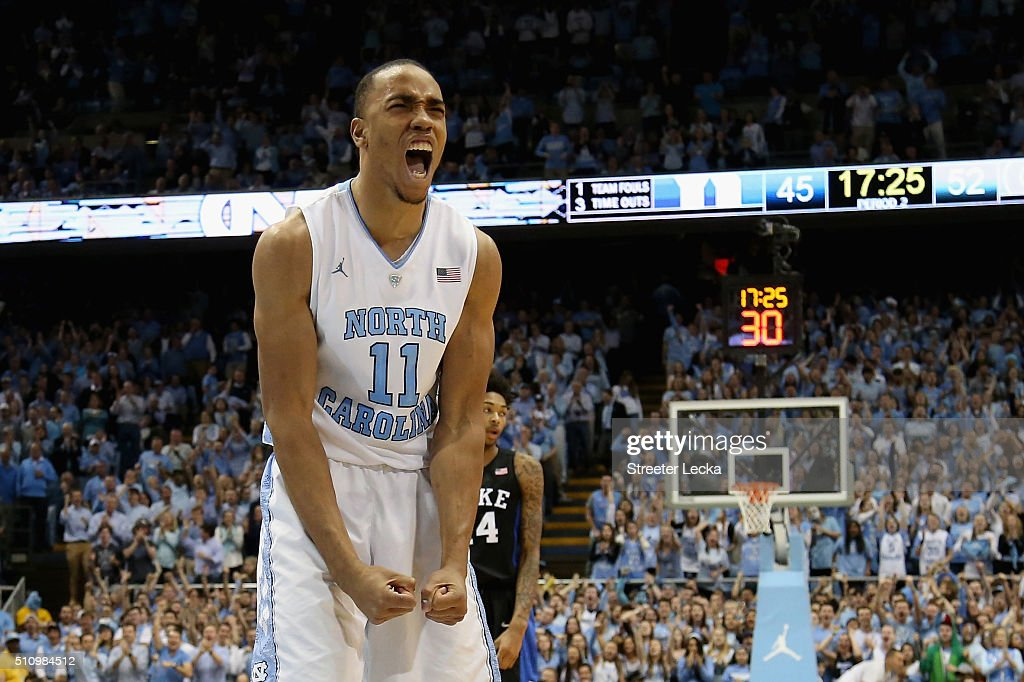Brice Johnson of the North Carolina Tar Heels reacts as Brandon Ingram of the Duke Blue Devils watches on during their game at Dean Smith Center on...