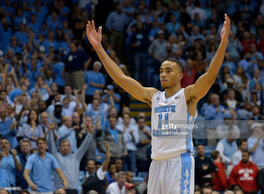Brice Johnson of the North Carolina Tar Heels reacts during their win against the Maryland Terrapins at the Dean Smith Center on December 1 2015 in...