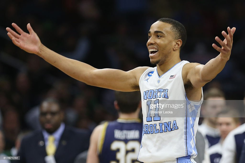 Brice Johnson of the North Carolina Tar Heels reacts in the second half against the Notre Dame Fighting Irish during the 2016 NCAA Men's Basketball...