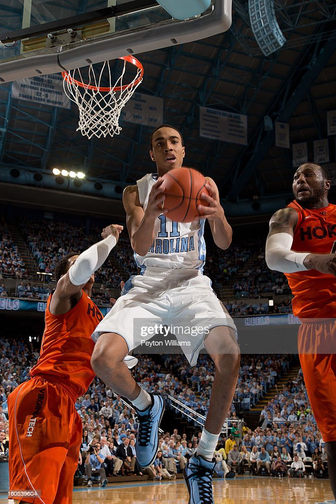 Brice Johnson #11 of the North Carolina Tar Heels rebounds the ball during the first half against the Virginia Tech Hokies on February 02, 2013 at the Dean E. Smith Center in Chapel Hill, North Carolina.