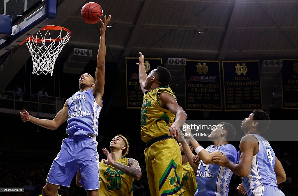 <a gi-track='captionPersonalityLinkClicked' href=/galleries/search?phrase=Brice+Johnson+-+Basketball+Player&family=editorial&specificpeople=13908967 ng-click='$event.stopPropagation()'>Brice Johnson</a> #11 of the North Carolina Tar Heels shoots the ball against the Notre Dame Fighting Irish at Purcell Pavilion on February 6, 2016 in South Bend, Indiana. Notre Dame defeated North Carolina 80-76.