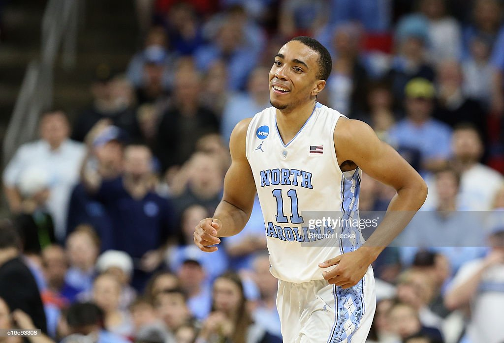 Brice Johnson of the North Carolina Tar Heels smiles against the Providence Friars in the second half during the second round of the 2016 NCAA Men's...