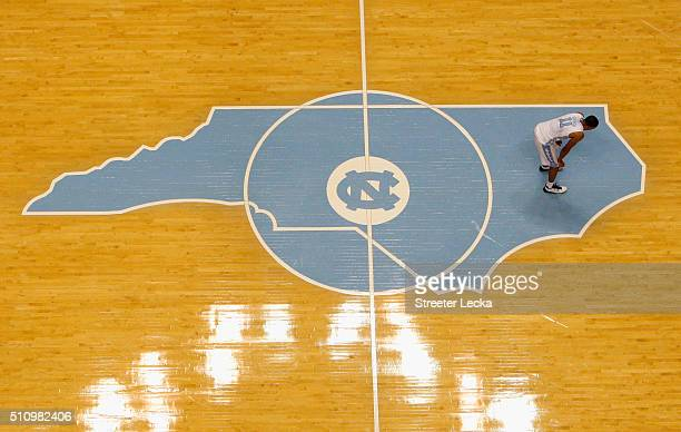 Brice Johnson of the North Carolina Tar Heels watches on against the Duke Blue Devils during their game at Dean Smith Center on February 17 2016 in...