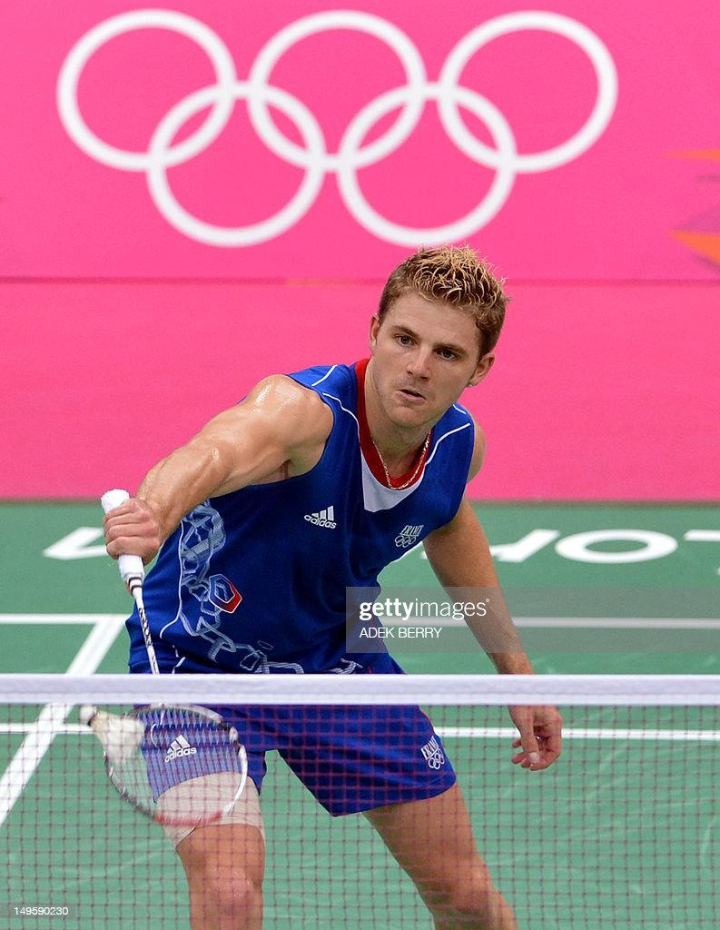 Brice Leverdez of France plays a shot to