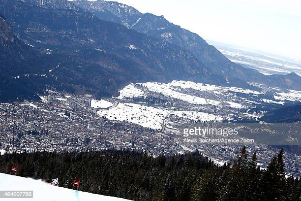 Brice Roger of France competes during the Audi FIS Alpine Ski World Cup Men's Downhill Training on February 27 2015 in GarmischPartenkirchen Germany
