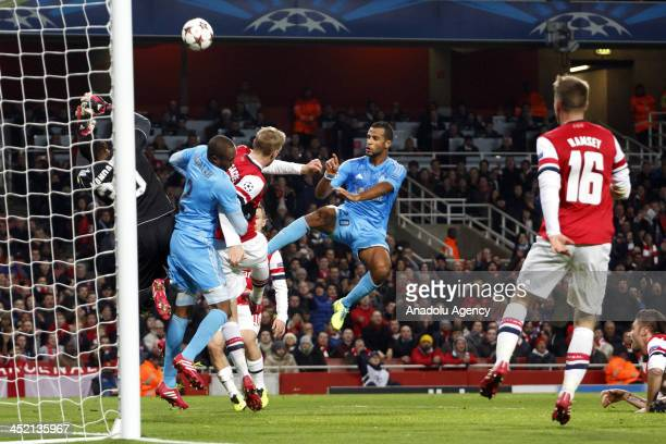 Brice Samba of Marseille vies for the ball during the UEFA Champions League group F football match between Arsenal and Olympique de Marseille at the...