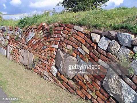 Brick And Stone Retaining Wall Stock Photo Getty Images