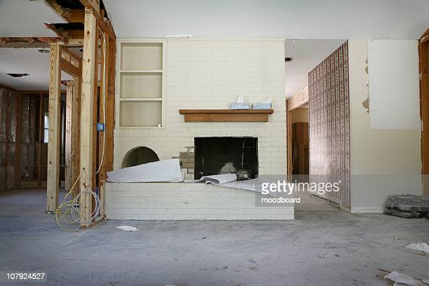 Brick fireplace and shelving in house renovation, Houston, Texas