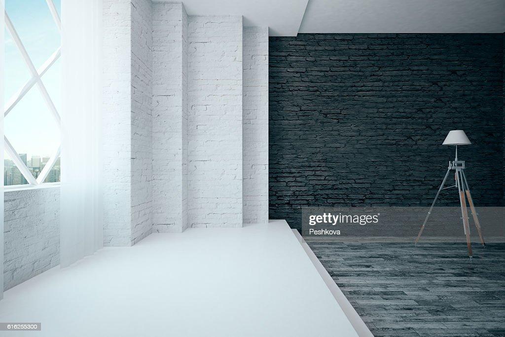 Brick interior with floor lamp : Foto de stock