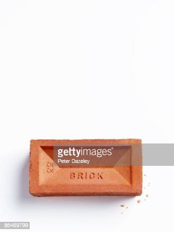 Brick on white background. : Stock Photo