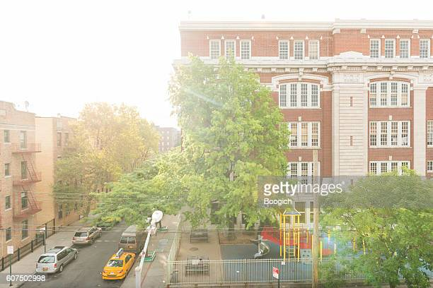 Brick School Building Architecture in Elmhurst Queens NYC Neighborhood Summer