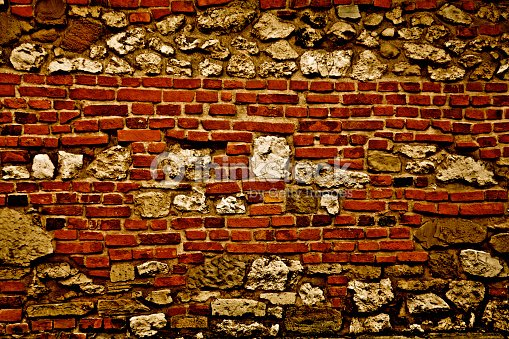 Brick stone wall mix old medieval defensive barrier for Mixing brick and stone