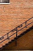 Brick wall and staircase, Illinois, USA
