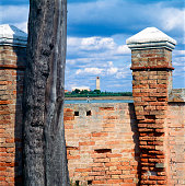 Mazzorbo, Venice, Italy - July 13,2018: view toward Torcello cathedral from the  XV century' wall of the Vigna Murata