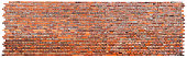 Brick Wall - panoramic view - White background