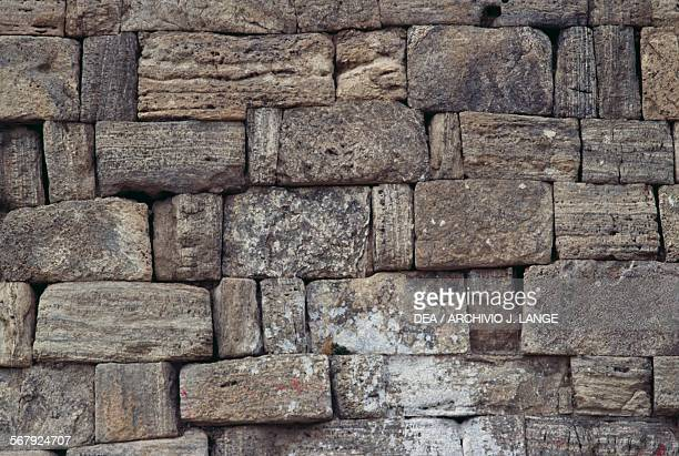 Brick wall Takhte Soleyman or Throne of Solomon Iran Sassanid civilisation