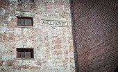 Contrasting brick walls stand next to each other to create some interesting lines and textures.