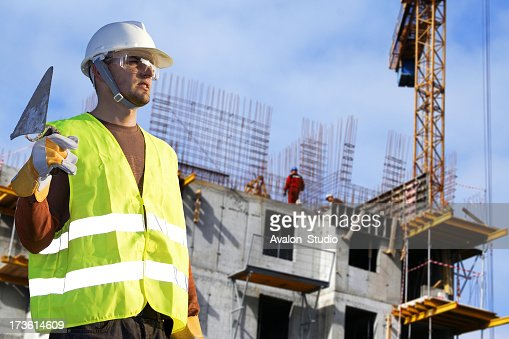 Bricklayer in a Building