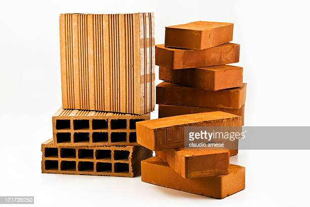 Bricks pile with White Background. Color Image