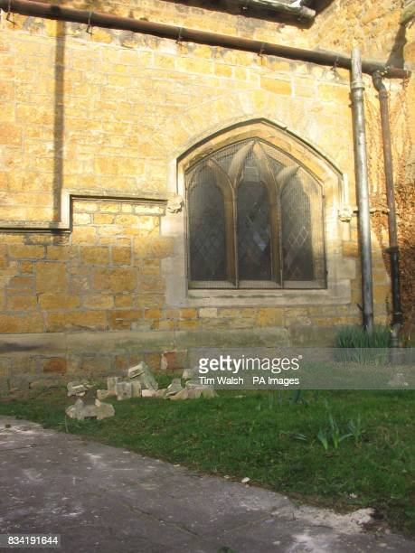 Brickwork apparently fallen from The Parish Church of St Thomas in Market Rasen after earthquake with a magnitude of 52 on the Richter scale near...