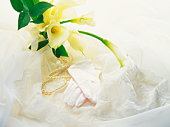 Bridal bouquet,  gloves and pearls