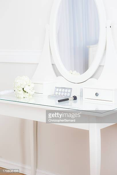Bridal bouquet on makeup table