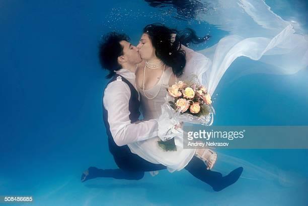 Bridal couple, underwater wedding in pool, Odessa, Ukraine, Eastern Europe