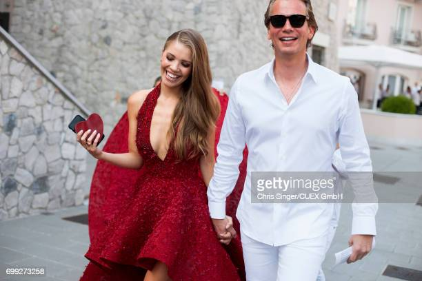 Bridal couple Victoria Swarovski and Werner Muerz attend the wedding of Victoria Swarovski and Werner Muerz on June 15 2017 in Trieste Italy