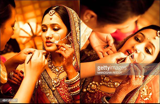 Bridal makeup in a Indian wedding