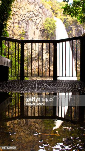 Bridal Veil Falls from a high viewpoint with a reflection in the pool of water