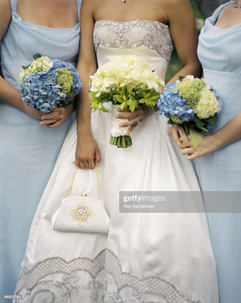Bride and bridesmaids with bouquets : Stock Photo