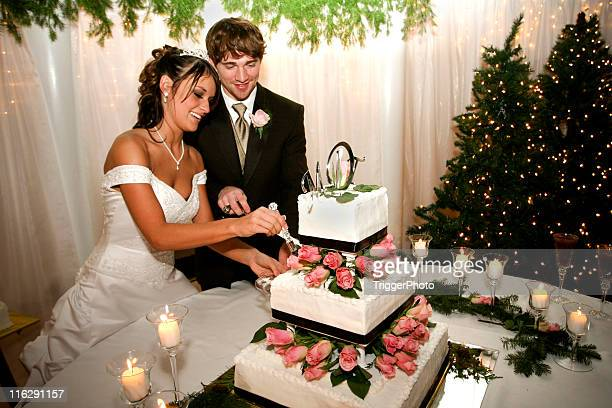Bride and Groom Couple Cutting Cake