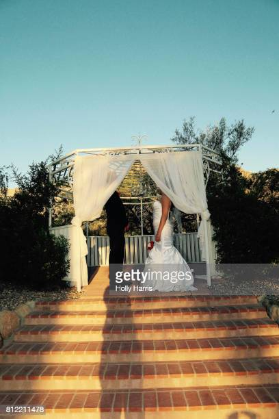 Bride and groom in a gazebo, faces behind curtains