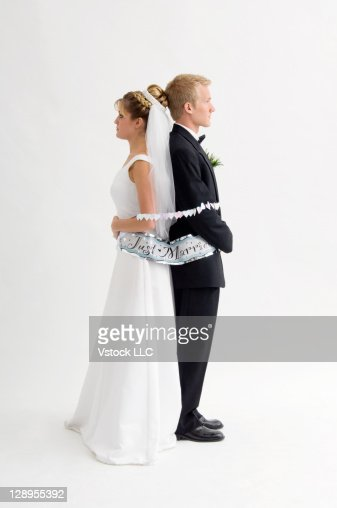Bride and groom tied up : Stock Photo