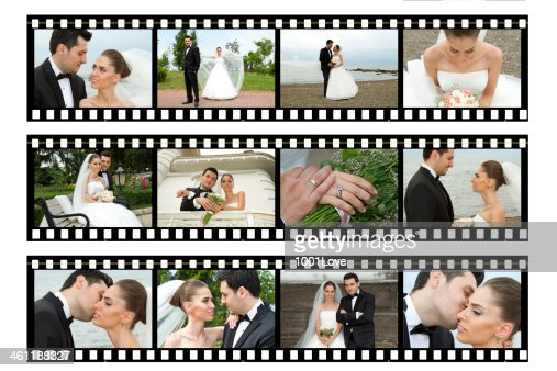 Bride And Groom Wedding Film Strips Storyboard Stock Photo