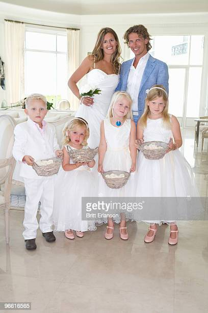 bride and groom with wedding children