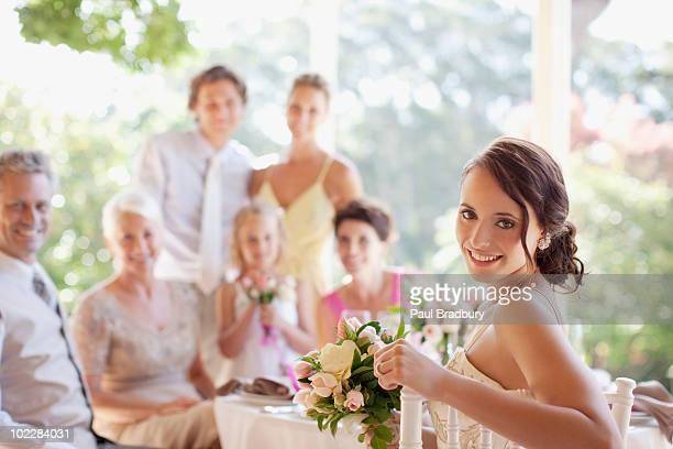 Bride enjoying wedding reception