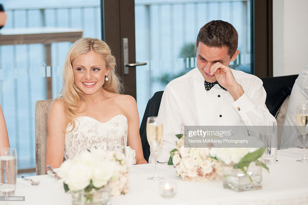 How Long Should A Grooms Speech Be: Bride Groom At Wedding Speeches Stock Photo