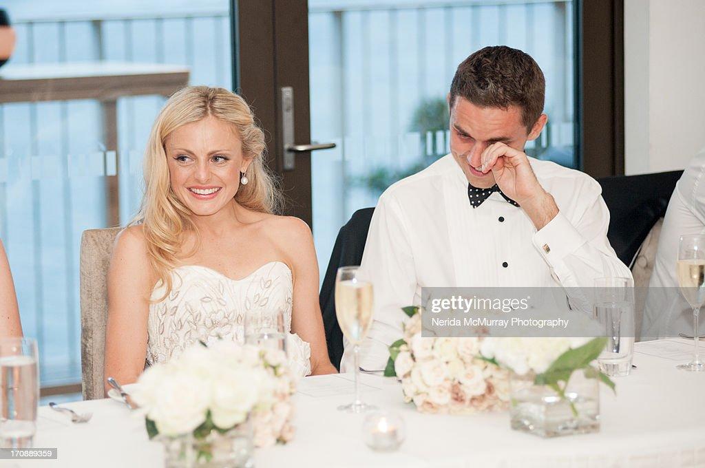 Grooms Speech To Bride Examples: Bride Groom At Wedding Speeches Stock Photo
