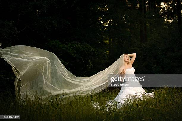Noiva em floresta