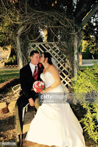 Bride kissing groom's cheek, sitting on bench under tree
