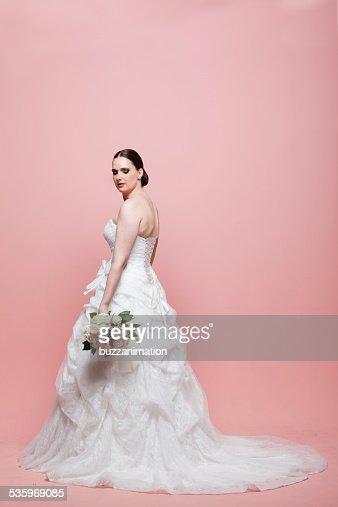 Bride looks down. : Stock Photo