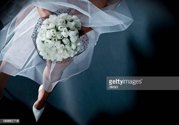 Bride on Dark Background, High View